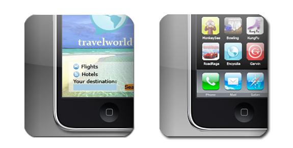 eksempel på iphone ikoner og applikasjoner